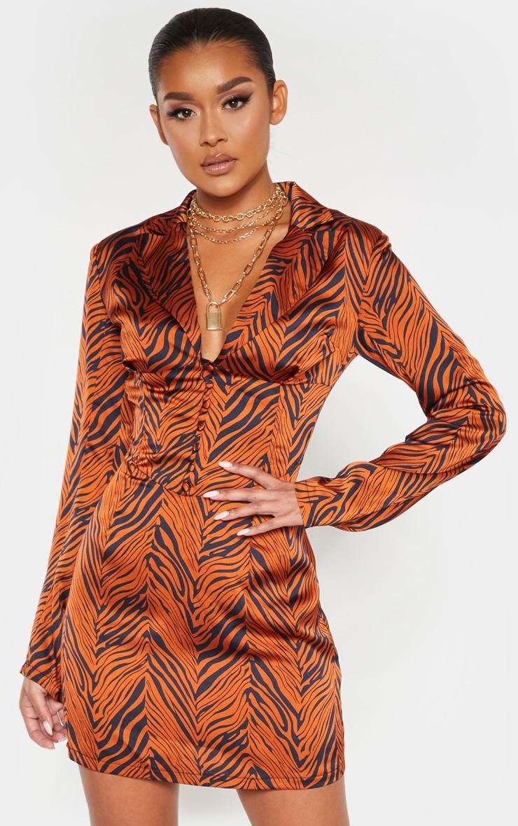 Rust Zebra Print Satin Button Corset Detail Blazer Dress 1