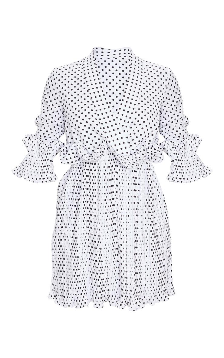White Polka Dot Frill Detail Pleated Skater Dress 5