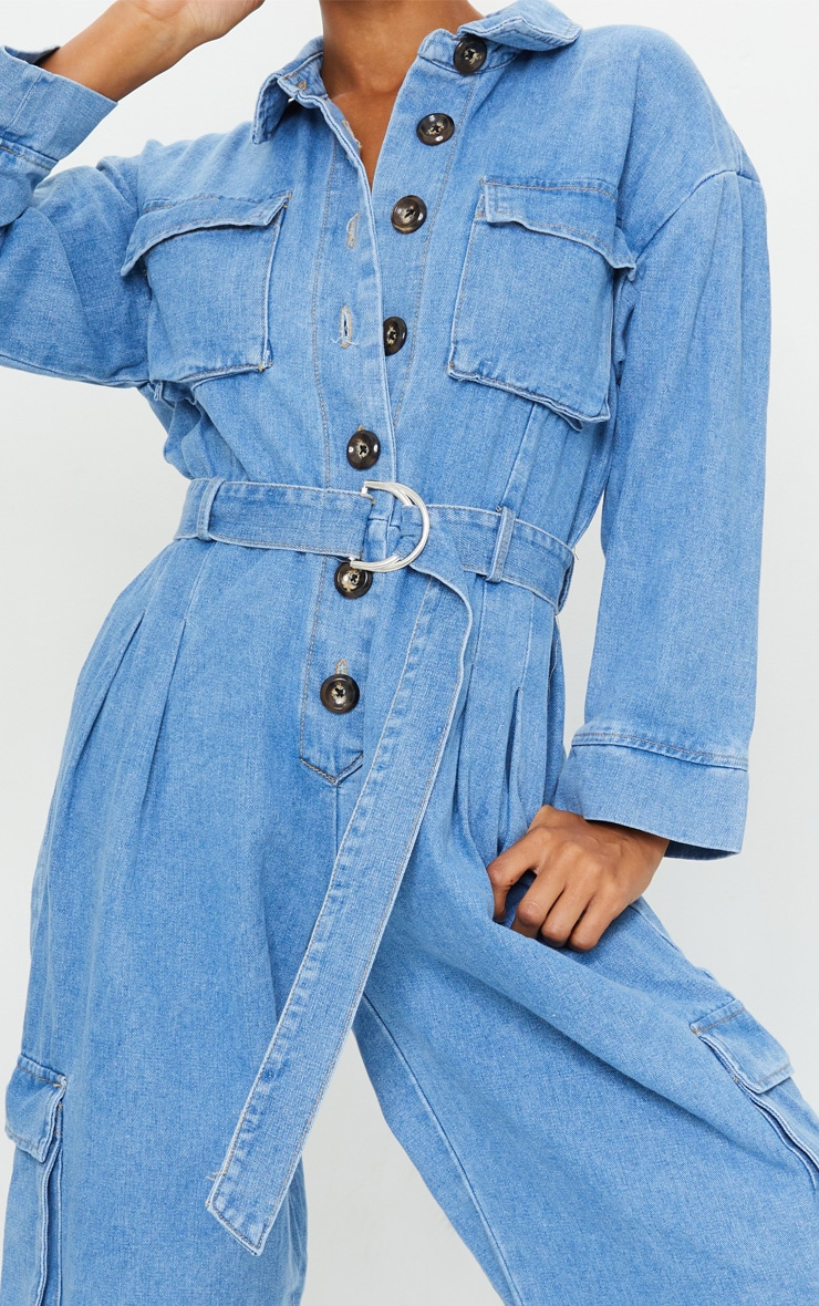 Mid Wash Oversized Cropped Denim Boilersuit 4