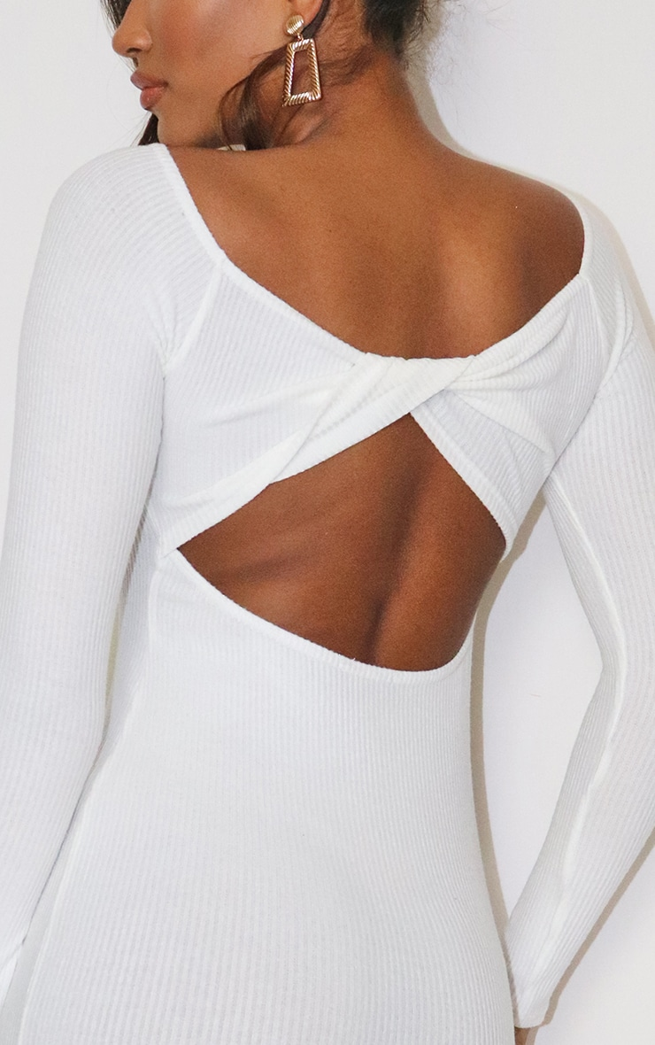 Cream Brushed Rib Twist Back Bardot Midi Dress 4
