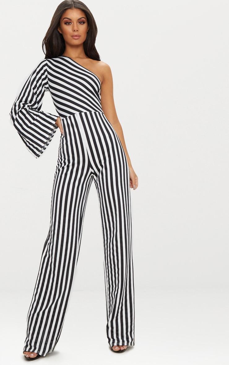 Monochrome Stripe One Shoulder Jumpsuit