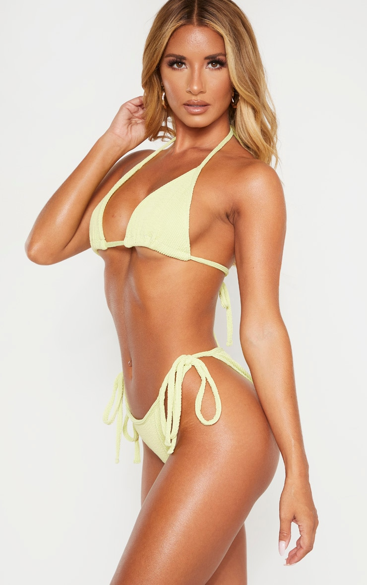 Sage Green Soft Crinkle Bikini Tie Side Bottom 2