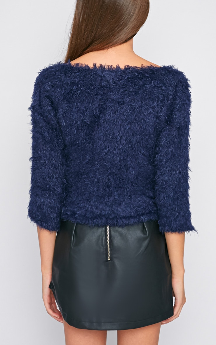 Jess Navy Fluffy Jumper 2