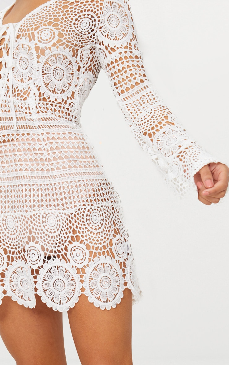 White Tie Front Flare Sleeve Crochet Lace Bodycon Dress 6