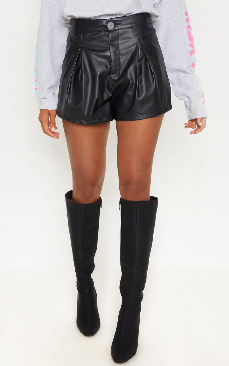 Black Faux Leather Pleat Front Short 2