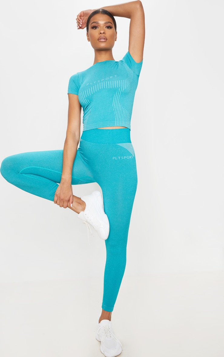 PRETTYLITTLETHING Turquoise Sport Seamless Contour Cropped Leggings 1