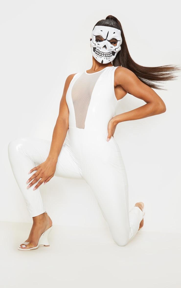 White Vinyl Mesh Panel Sleeveless Jumpsuit 1