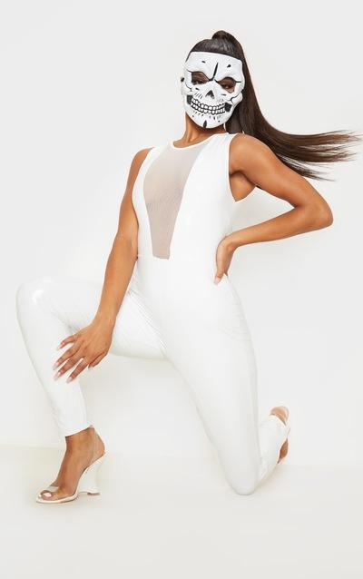 White Vinyl Mesh Panel Sleeveless Jumpsuit