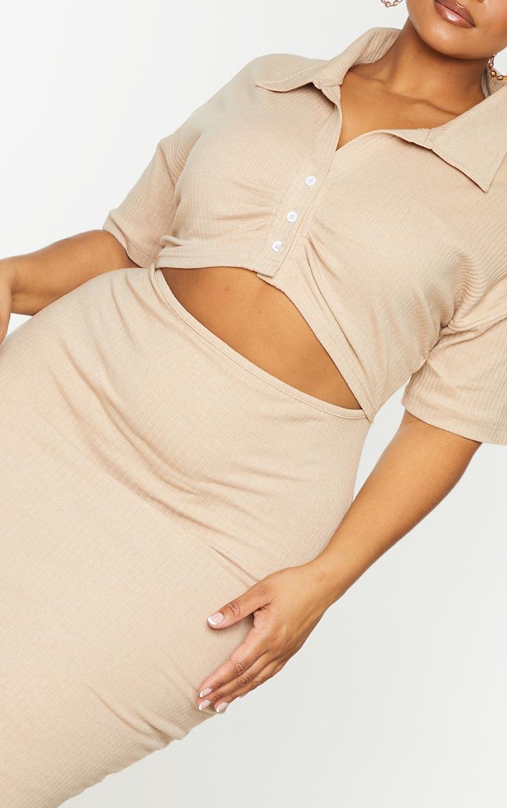 Plus Stone Thick Rib Cut Out Midi Dress 4