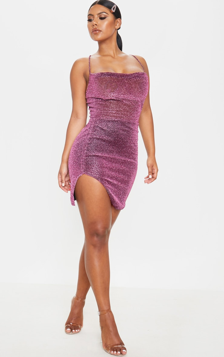 Purple Textured Glitter Strappy Cross Back Bodycon Dress 4