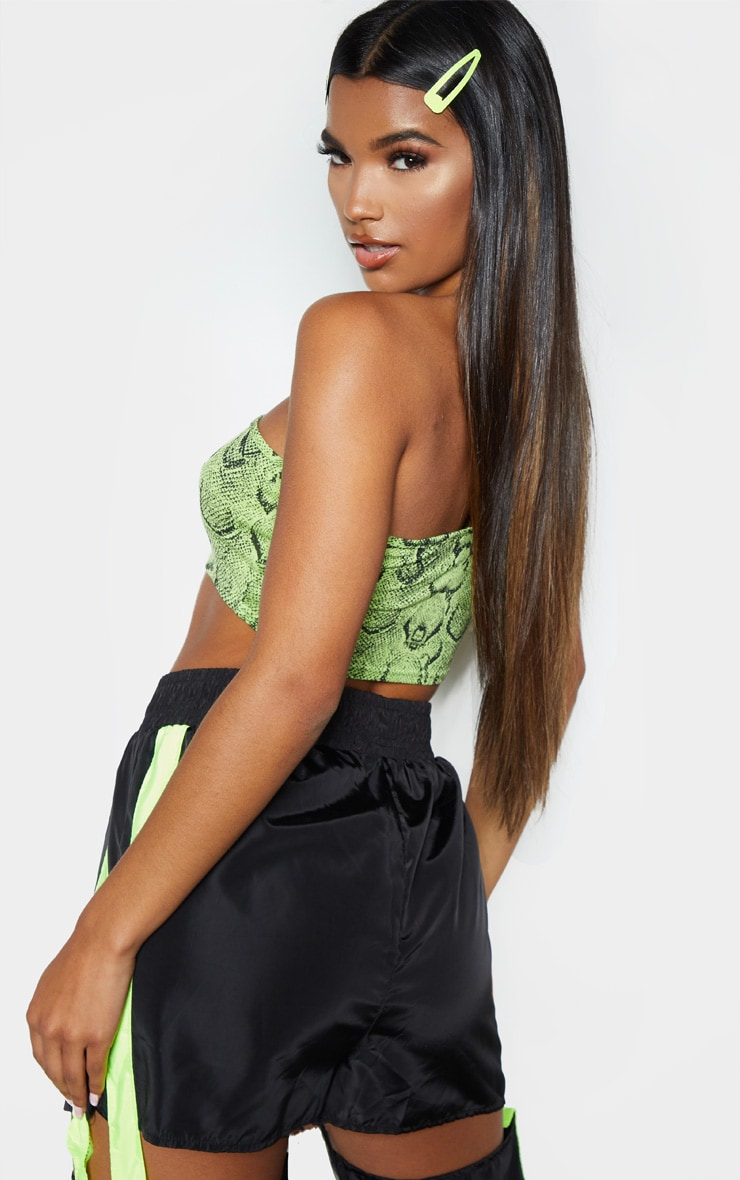 Basic Lime Snake Printed One Shoulder Strappy Crop Top 3