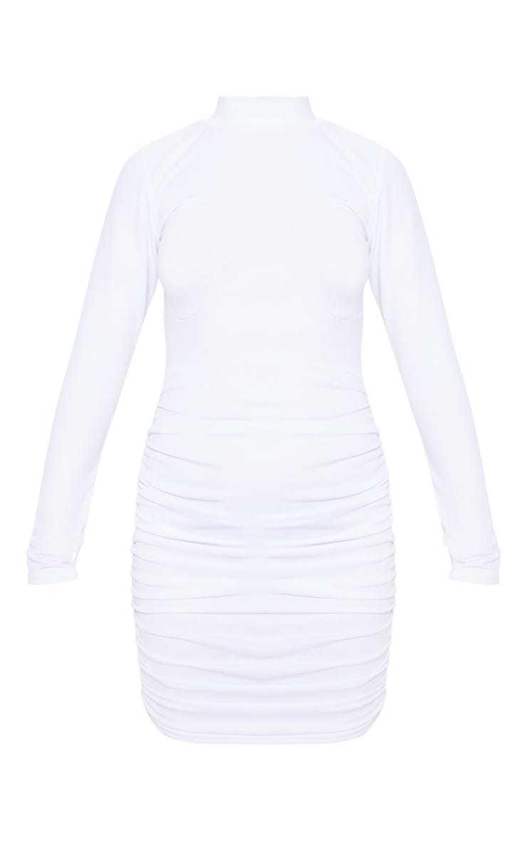 White Long Sleeve High Neck Ruched Side Bodycon Dress 3