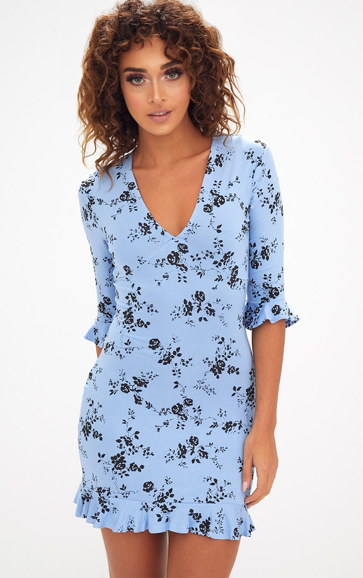Blue Floral Frill Hem Shift Dress 1