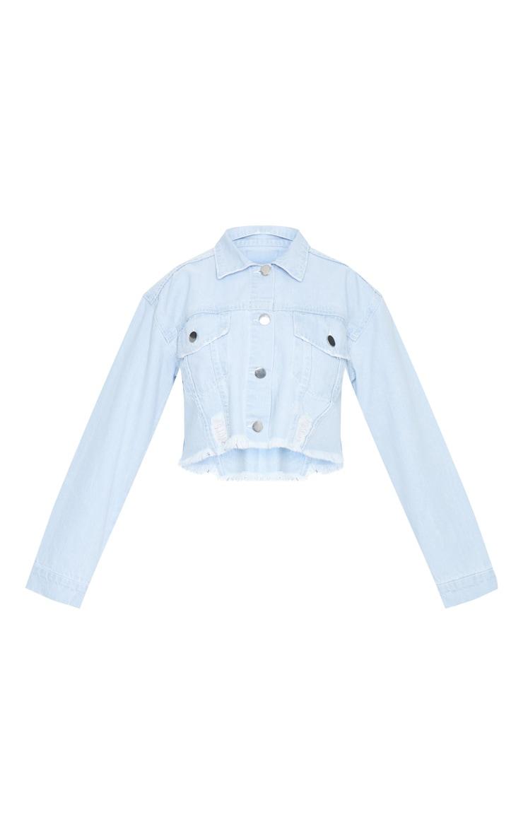 Petite Bleach Raw Hem Cropped Denim Jacket 5