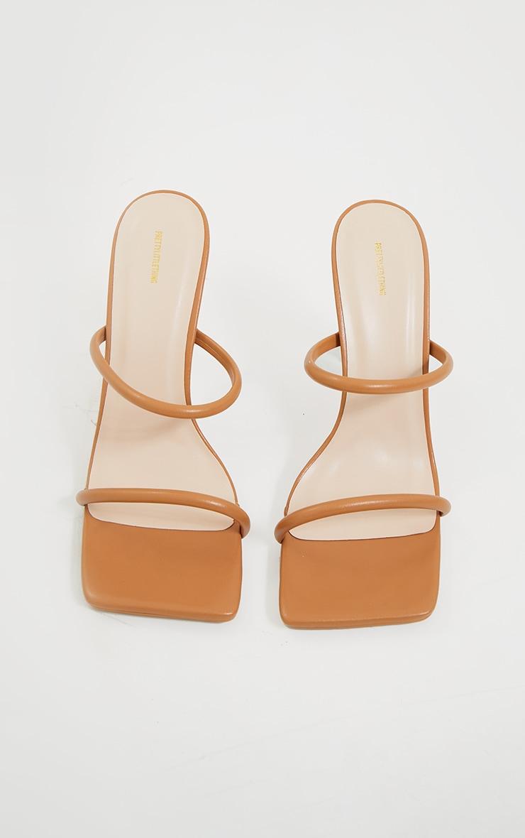 Tan PU Extreme Square Toe Twin Strap Mule High Heel 3