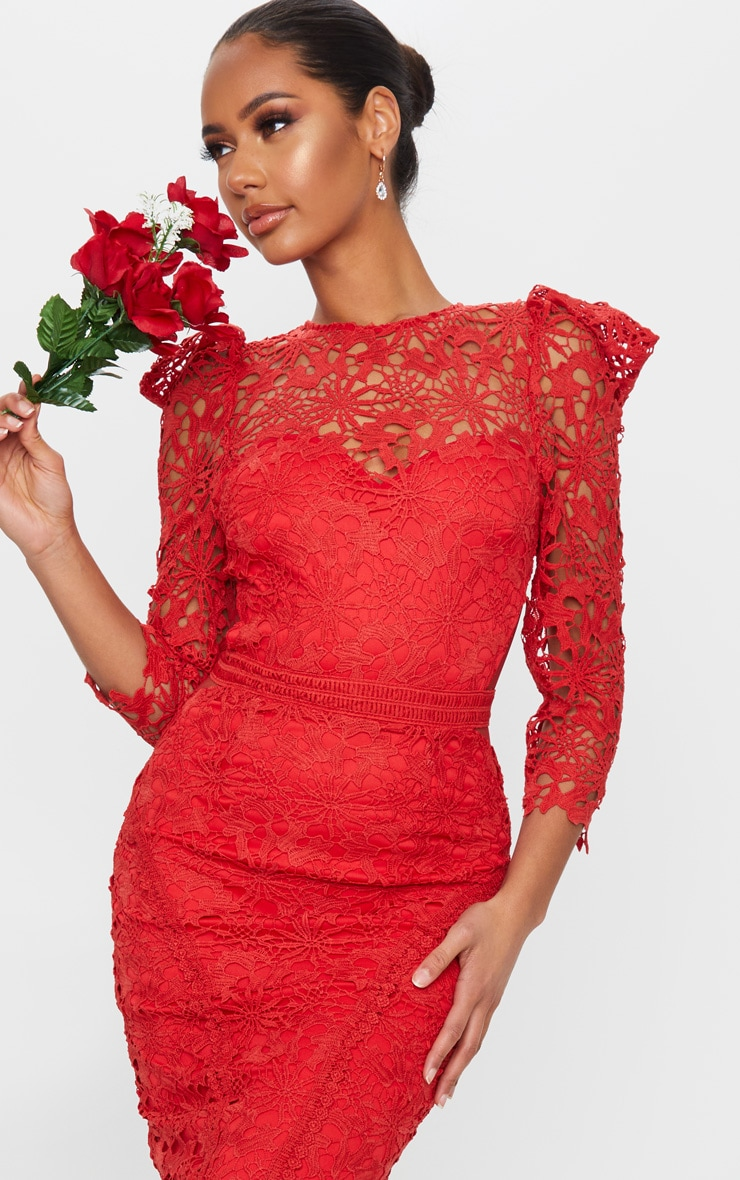 Red Lace Open Back Long Sleeve Midi Dress 4