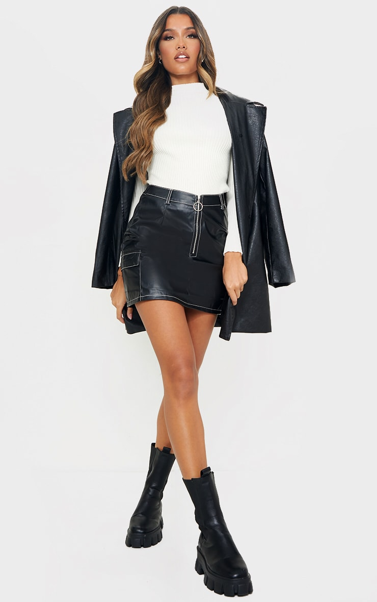 Black Faux Leather Contrast Stitch Mini Skirt 1