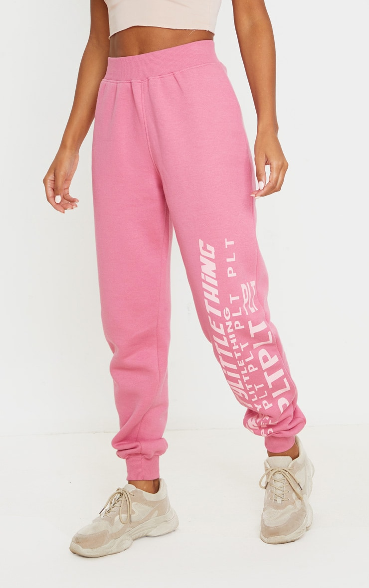 PRETTYLITTLETHING Pink Multi Logo Sweatpants 2