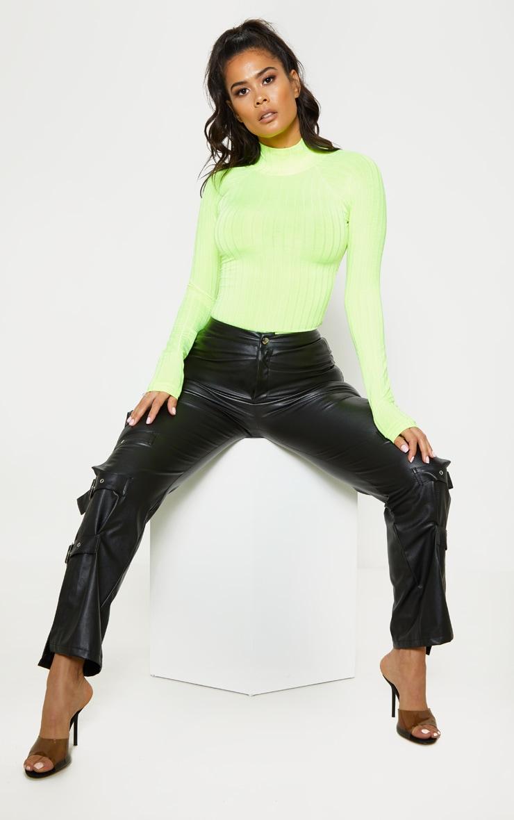 Neon Lime Slinky Rib High Neck Long Sleeve Top 4