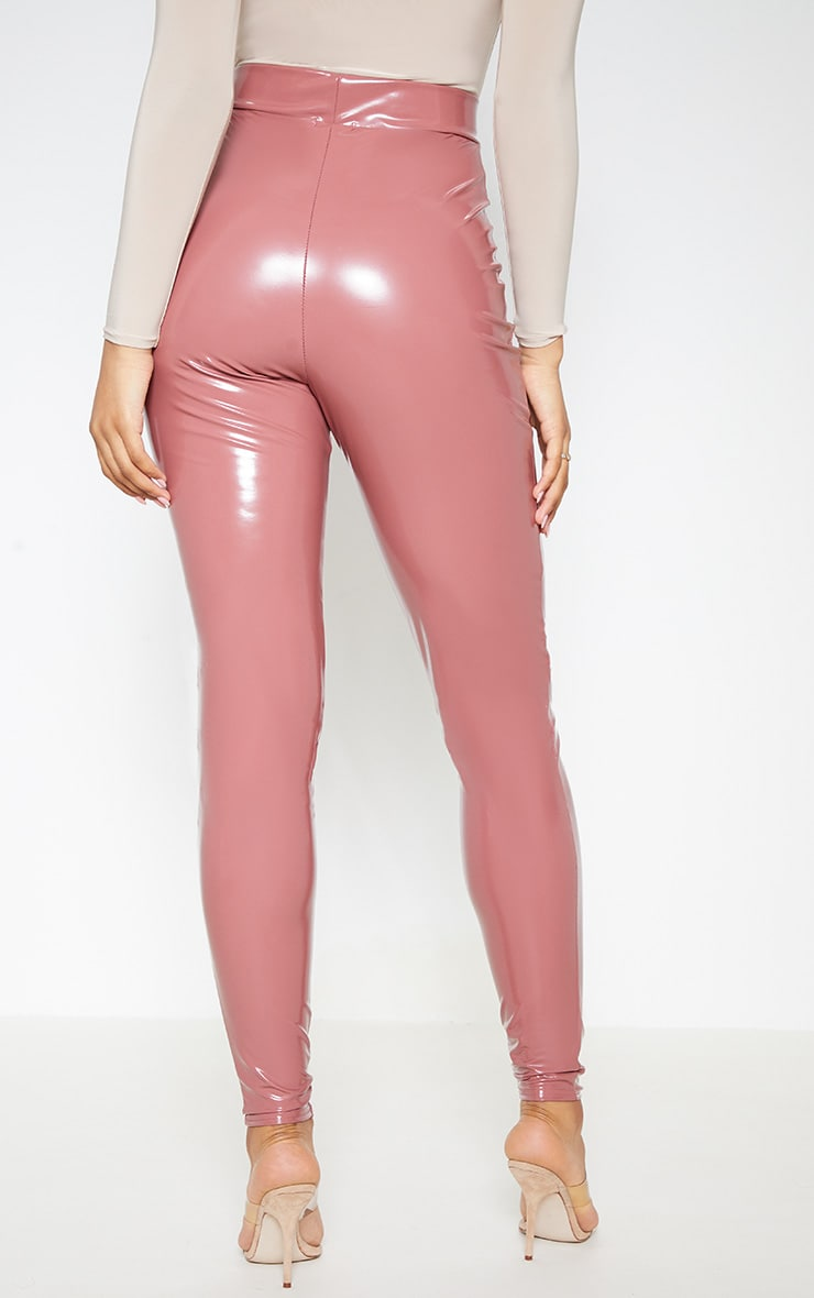 Tall Nude Zip Detail Vinyl Leggings 5
