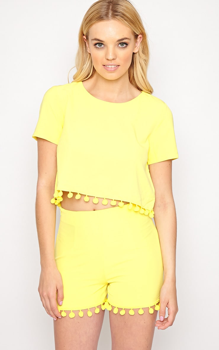 Sierra Yellow Pom Pom Crop Top  1