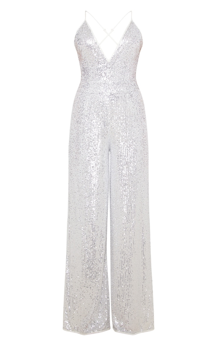 Silver Strappy Sequin Plunge Jumpsuit 3