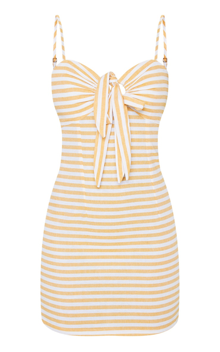 Mustard Stripe Tie Front Woven Shift Dress 3