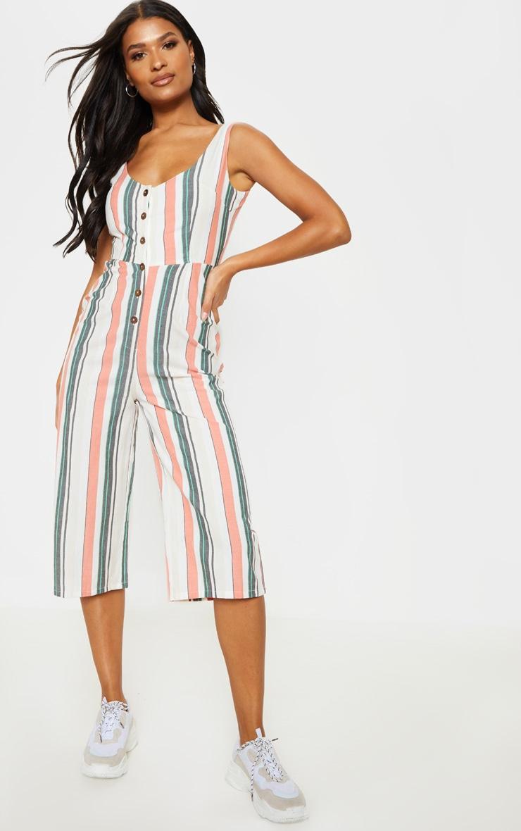 White Stripe Linen Button Detail Jumpsuit 1