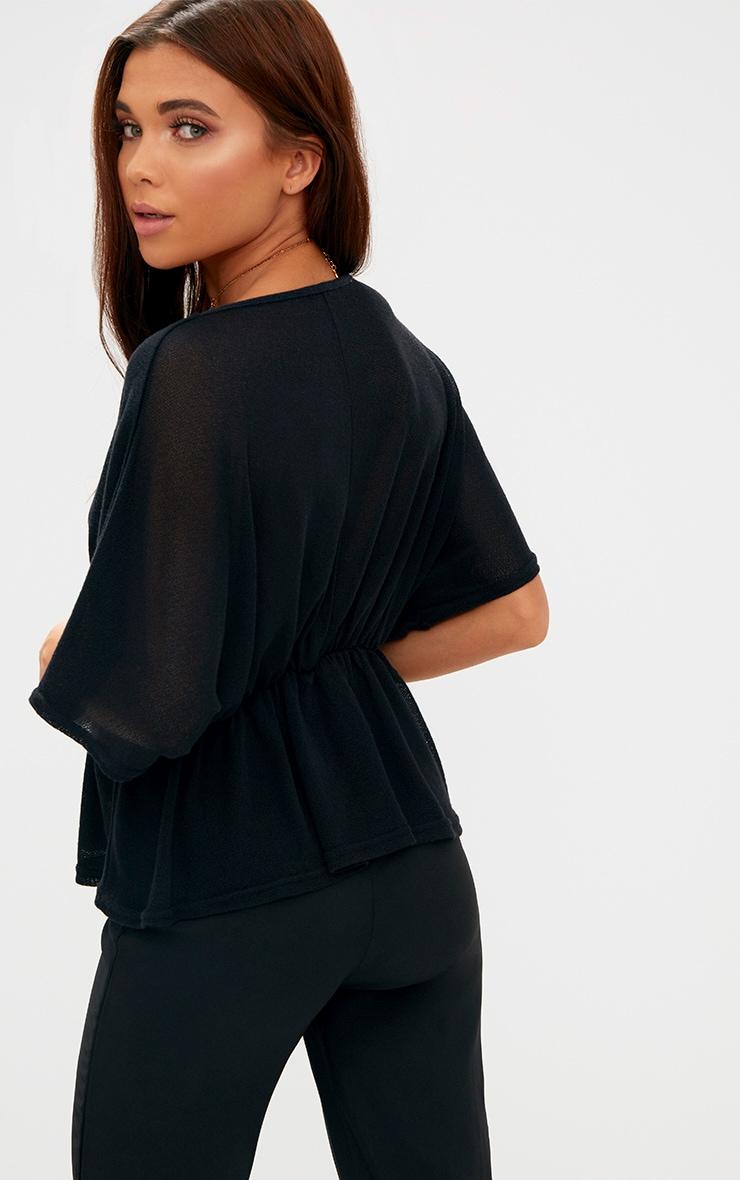 Black Lightweight Knit Plunge Top 2