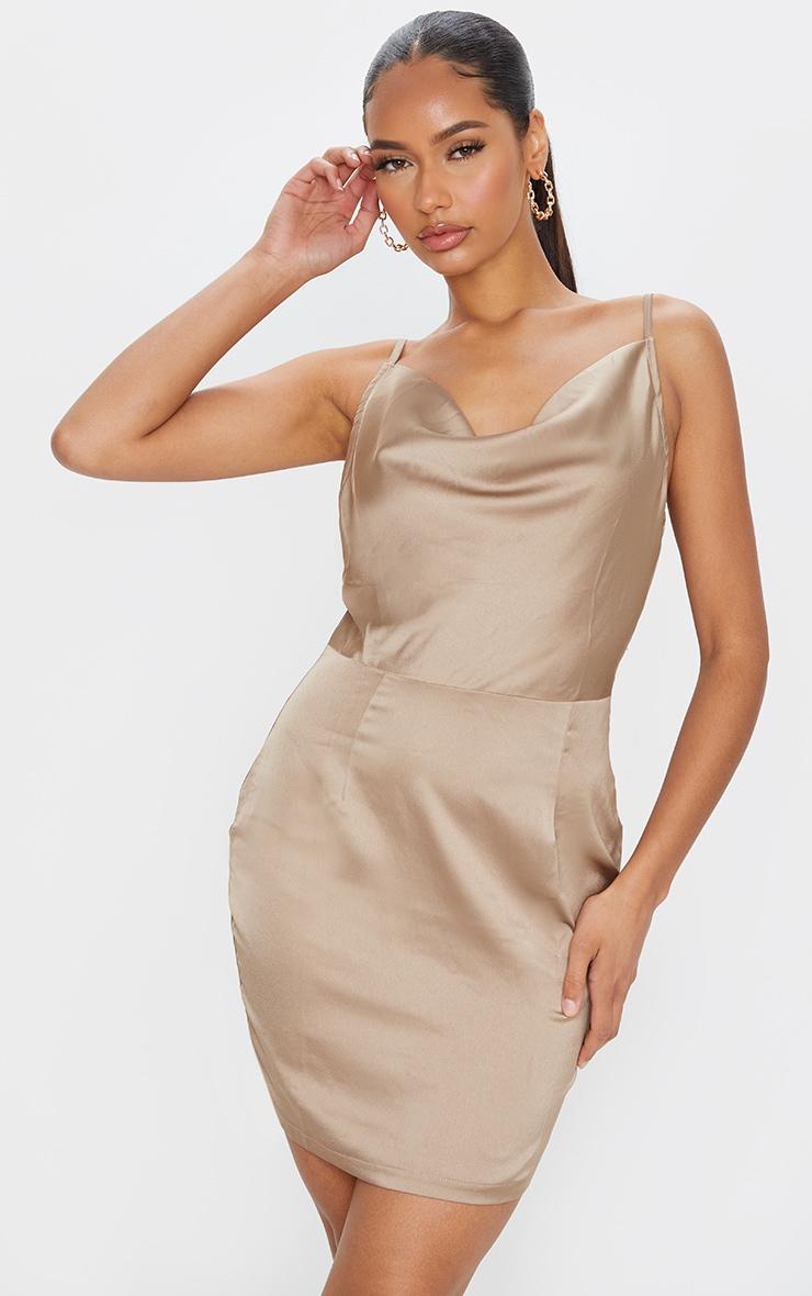 Gold Satin Cowl Neck Slip Dress 1