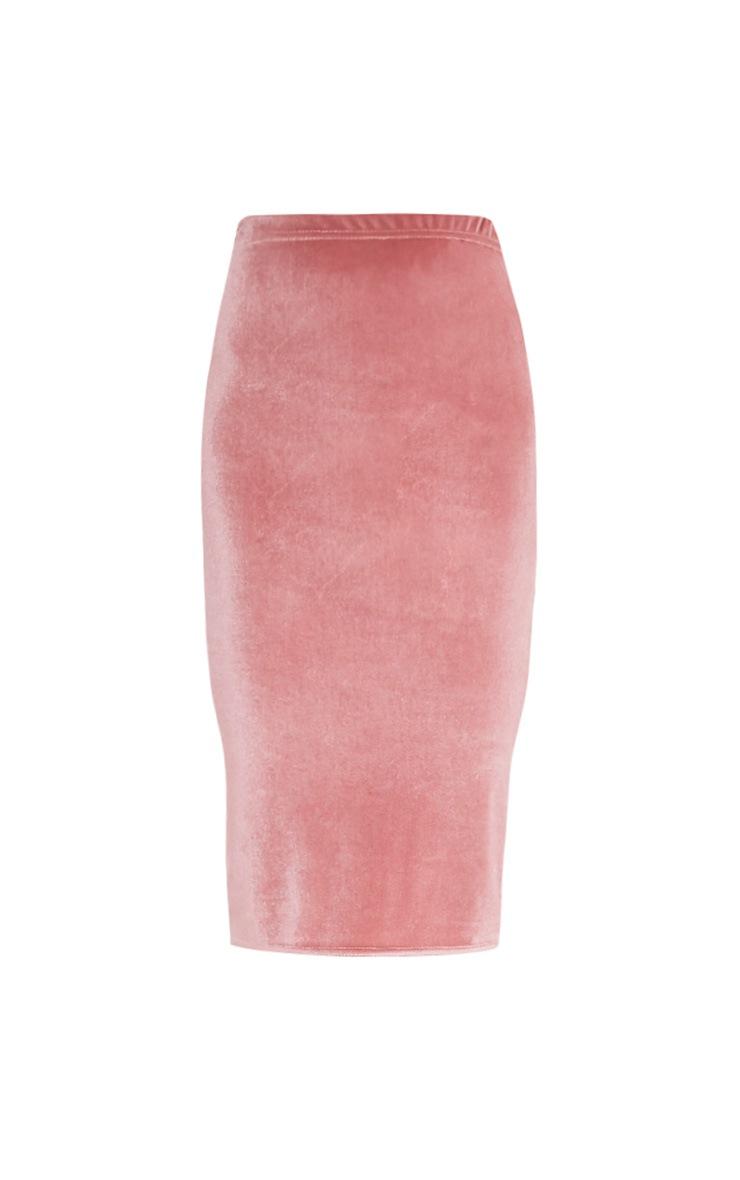 Roberta Dusty Pink Velvet Midi Skirt 3