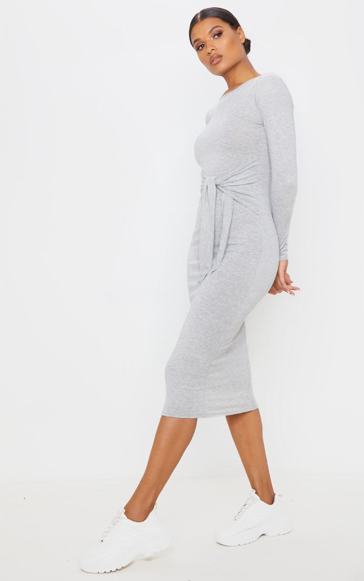 Grey Tie Waist Long Sleeve Midi Dress 4