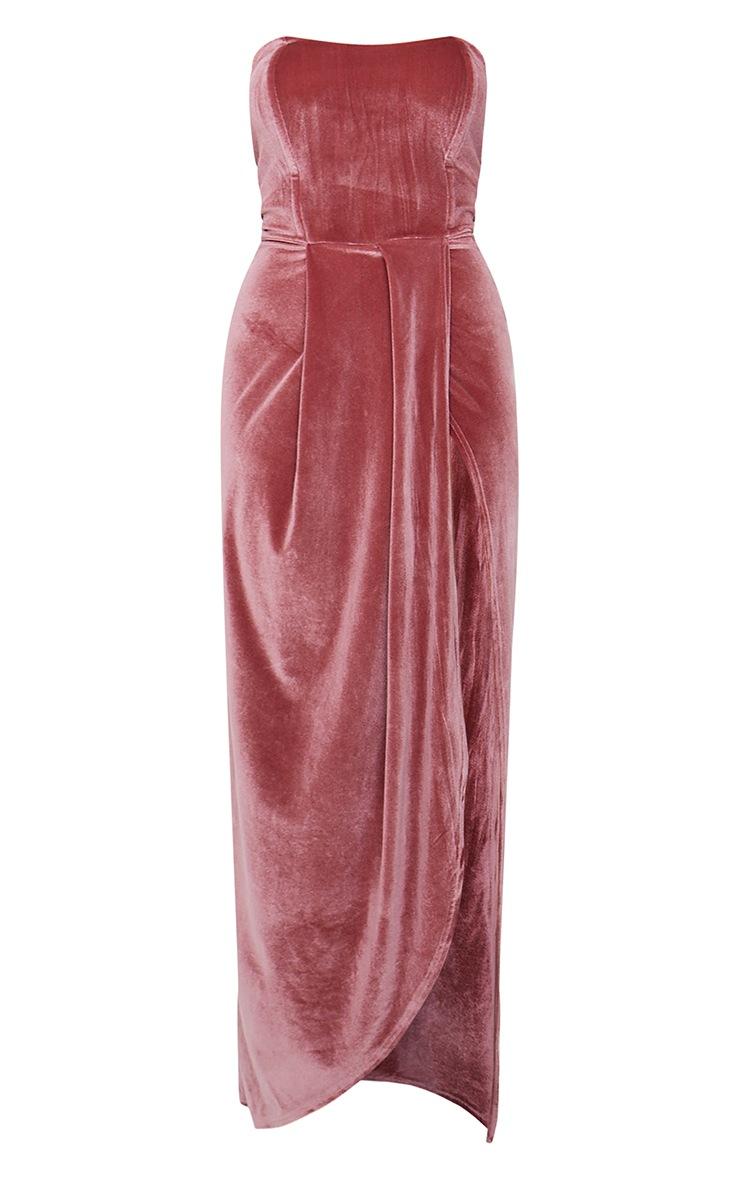 Dusty Pink Boning Detail Velvet Bandeau Maxi Dress 5