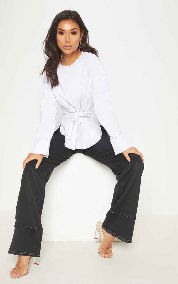 White Woven Contrast Stitch Gathered Waist Shirt 4