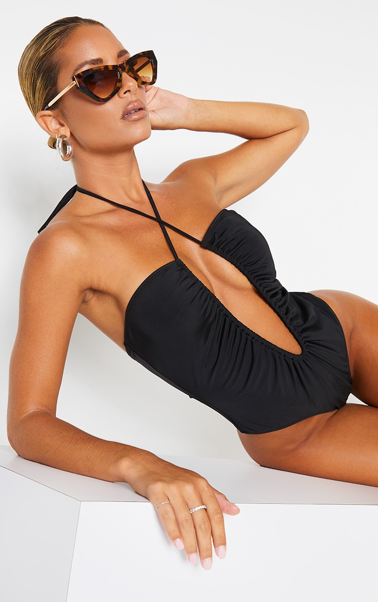 Black Scoop Neck Ruched Swimsuit 1