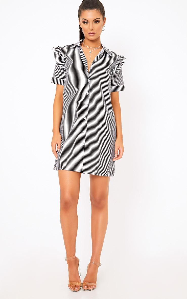 Wendayar Stripes Frill Short Sleeve Shirt Dress Black 4
