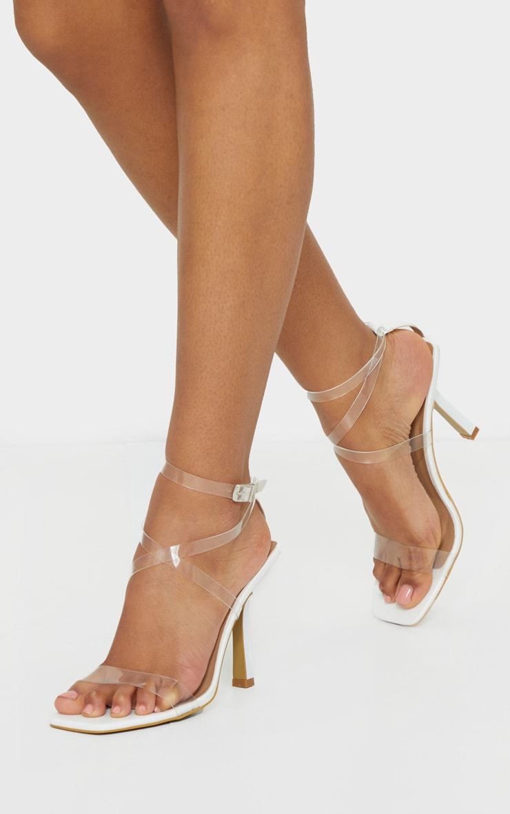 White Clear Strappy Square Toe Heels 2