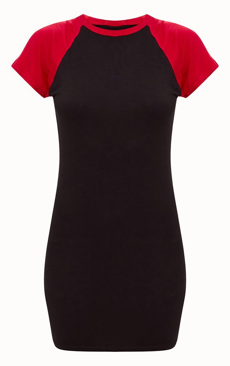 Black Contrast Raglan Sleeve Bodycon Dress 3