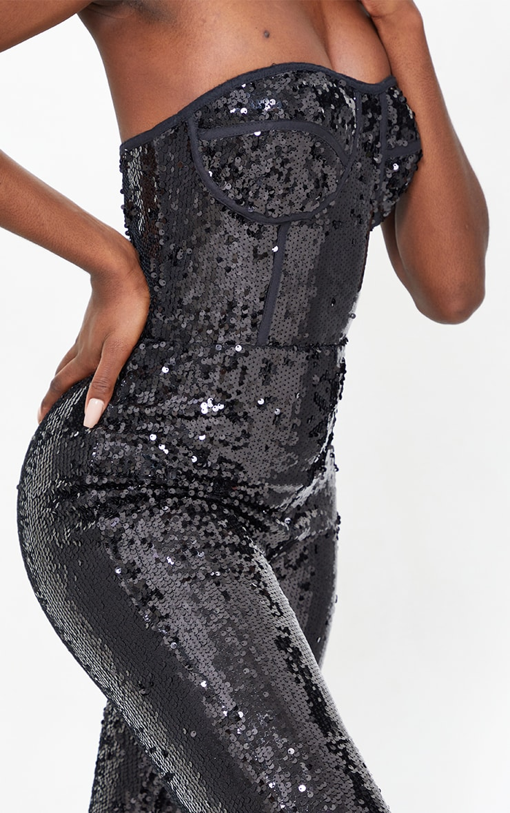 Tall Black Sequin Corset Detail Jumpsuit 4