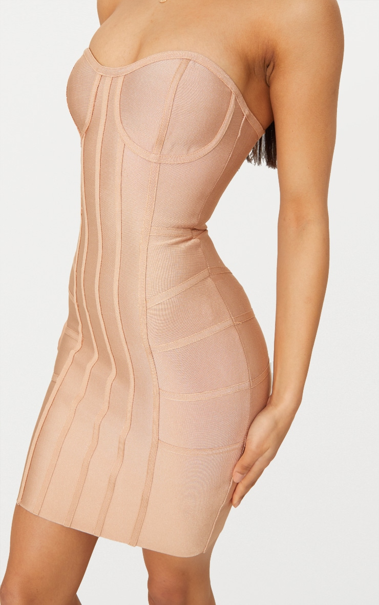 Cloe Camel Bandage Panel Bodycon Dress 5