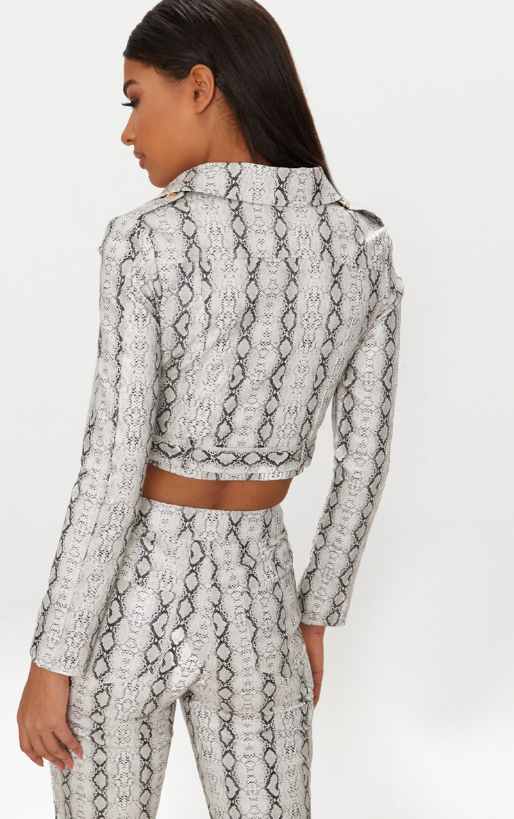 Grey Cropped Snake Print Biker Jacket  2