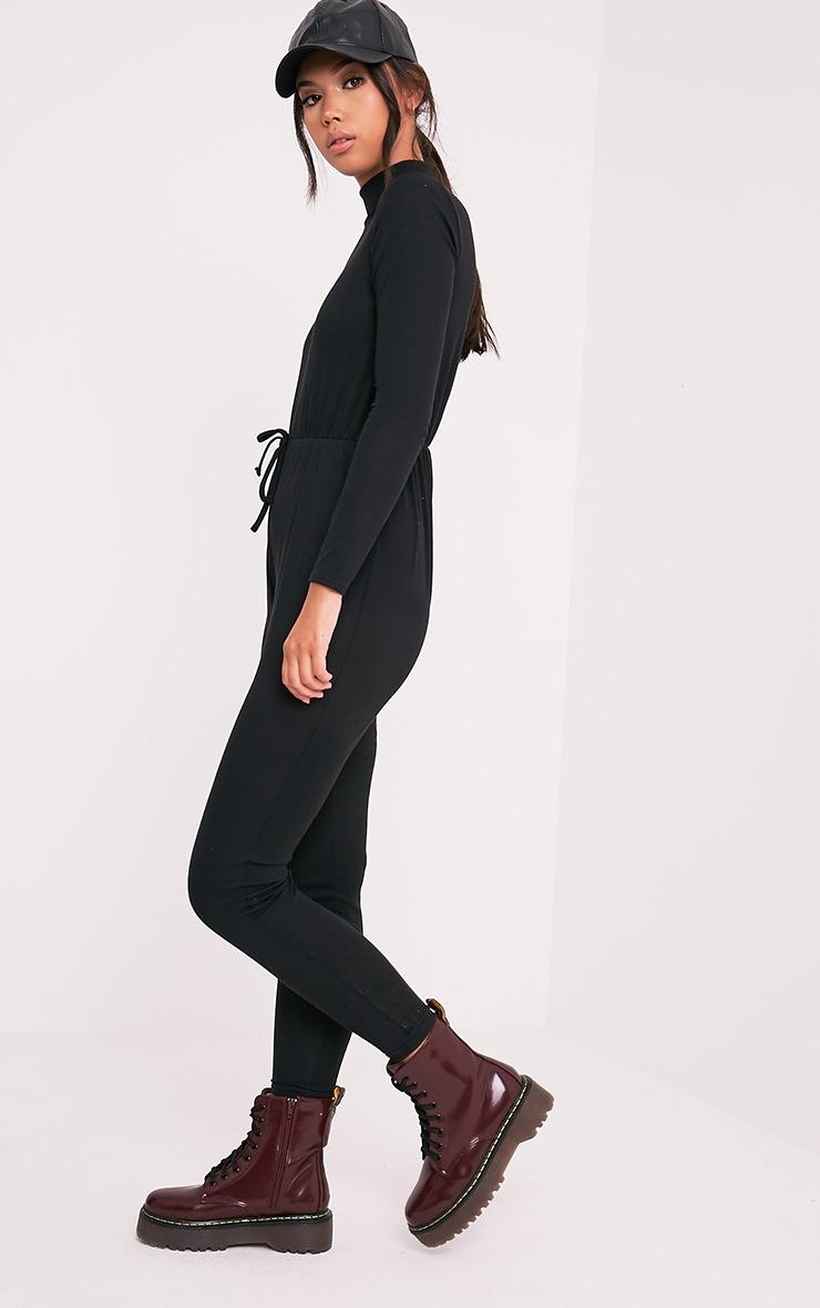 Tessie Black Long Sleeve Ribbed Jumpsuit 3