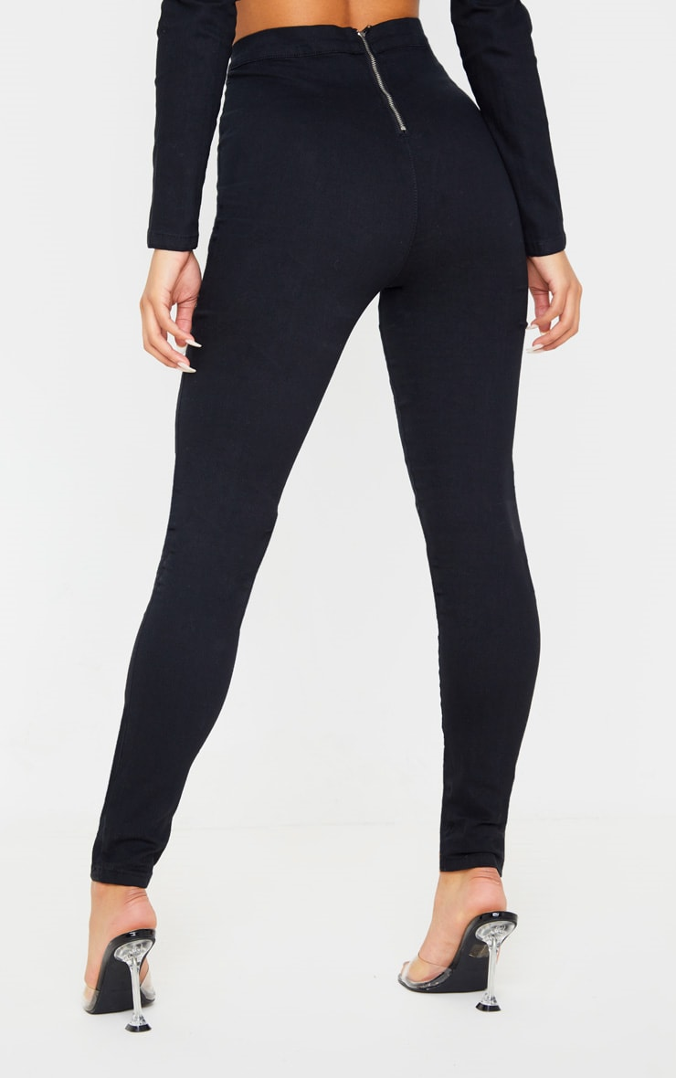 Jegging noir très stretch taille haute à coutures fluo contrastantes  4