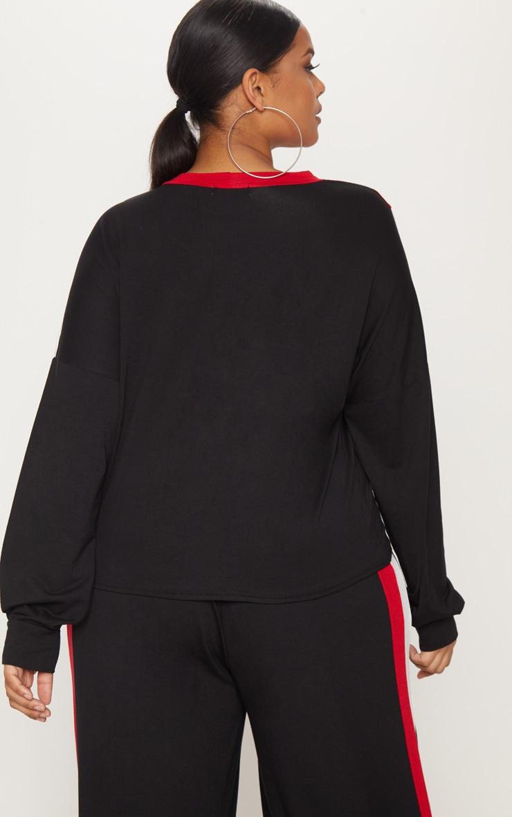 Plus Black Chevron Jersey Long Sleeve Top 2