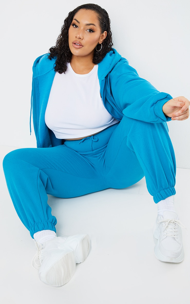 Plus Blue Extreme Oversized Pocket Front Zip Through Hoodie 3