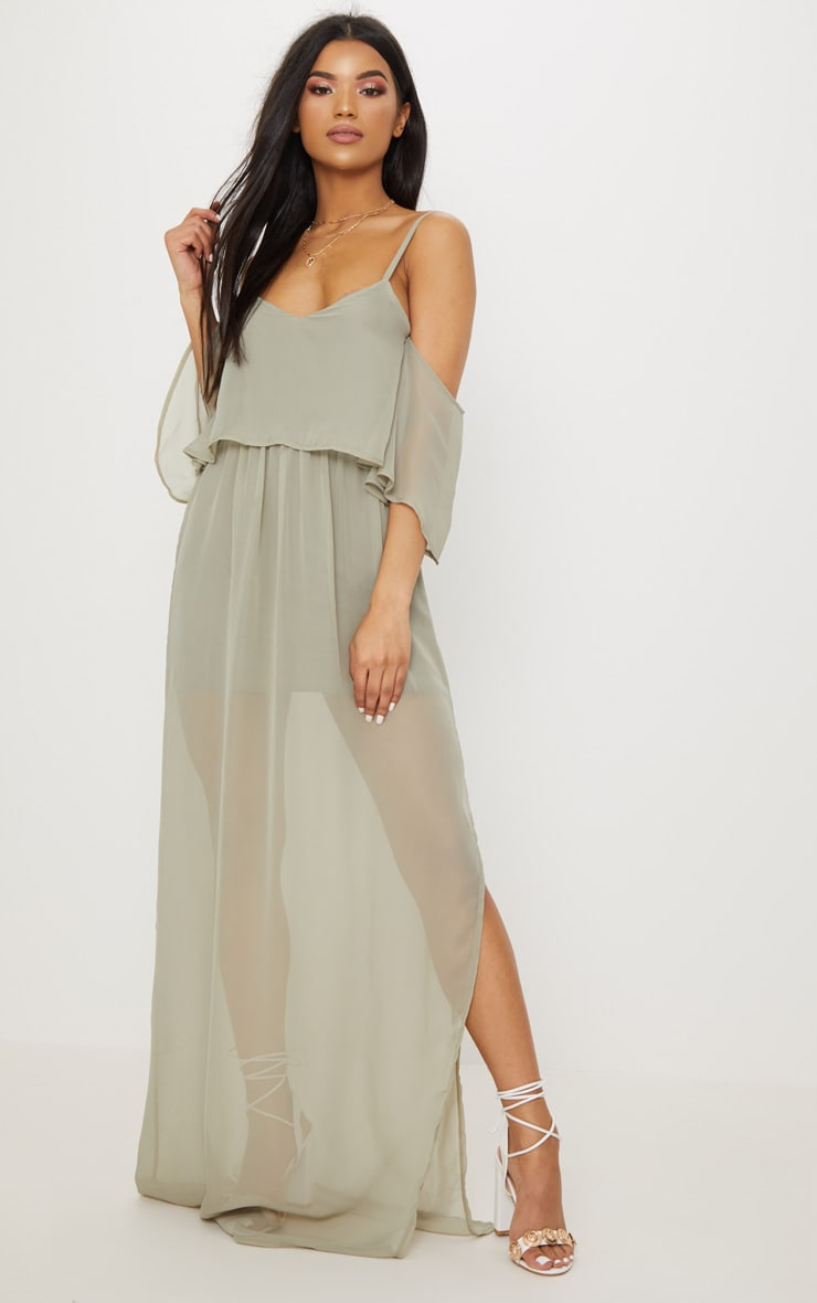 Sage Green Chiffon Layered Cold Shoulder Maxi Dress