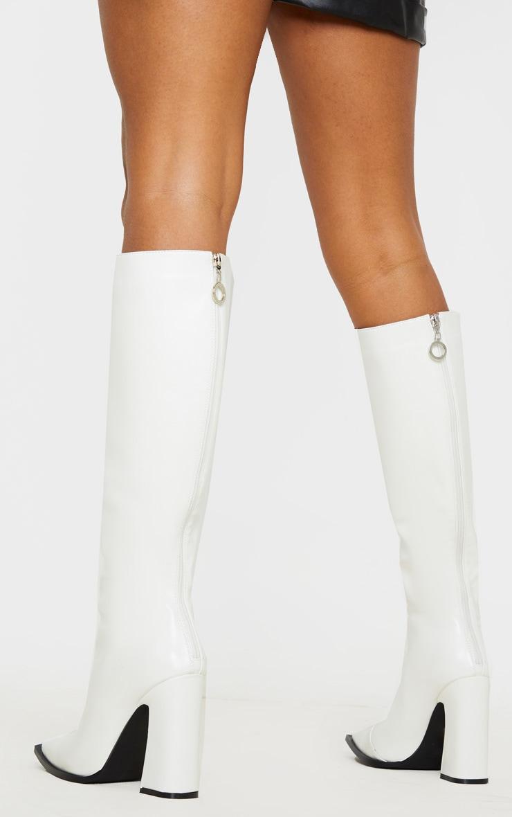 White Square Toe Block Heel Calf Boot 2