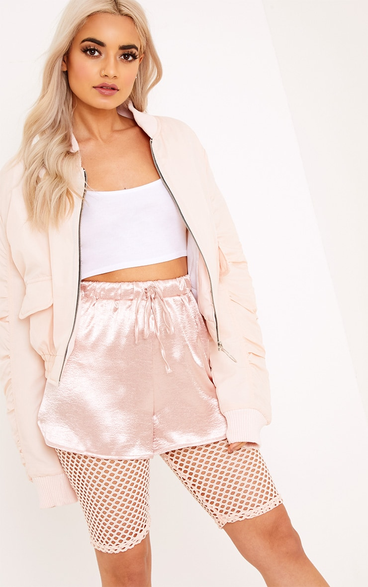Deserae Nude Cropped Statement Zip Pull Bomber Jacket 1