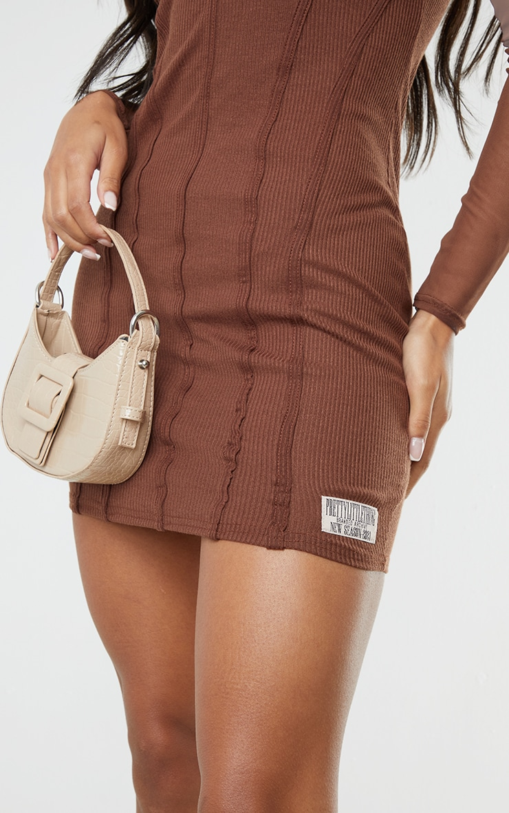PRETTYLITTLETHING Chocolate Ribbed Mesh Insert Binded Bodycon Dress 4