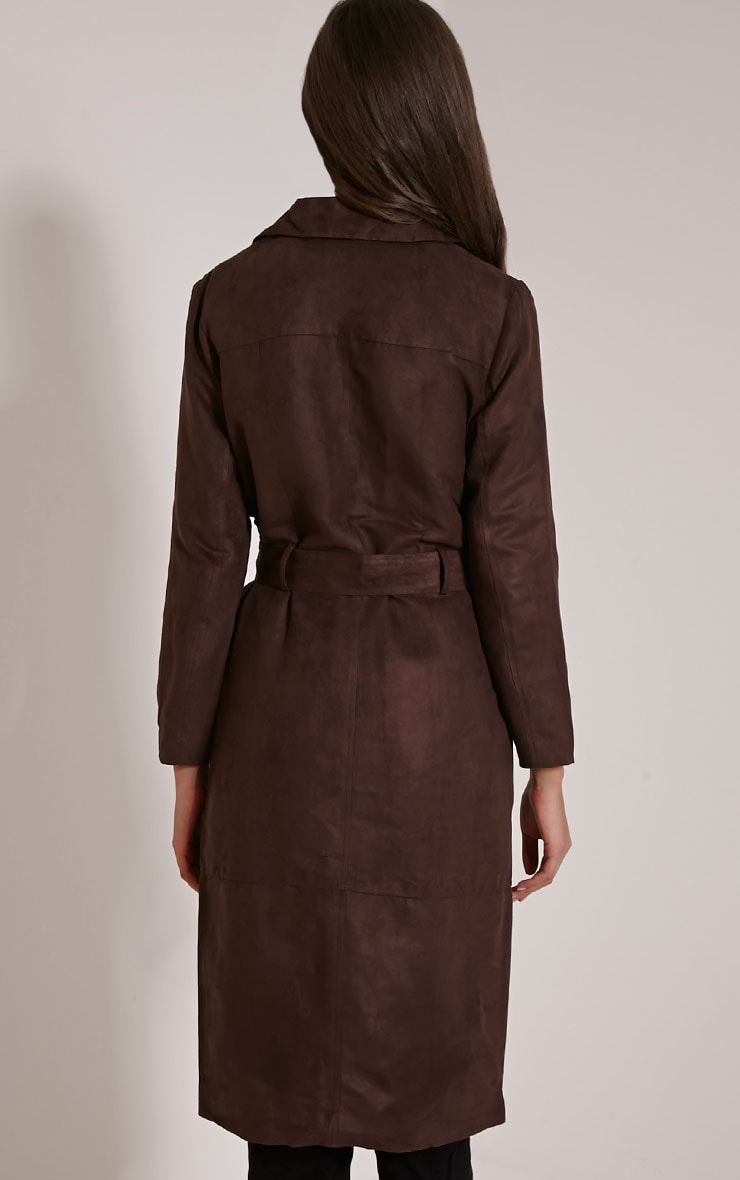 Elinor Chocolate Faux Suede Trench Coat 2